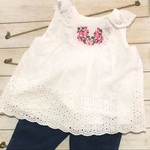 Cute white embroidered top with leggings